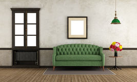 Empty retro room with green sofa and window Royalty Free Stock Images