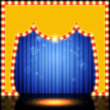 Empty retro stage with blue curtain Stock Image