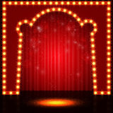 Empty retro stage with curtain. Vector illustration Royalty Free Stock Images
