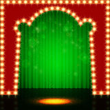 Empty retro stage with green curtain Stock Photos