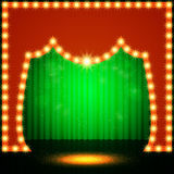 Empty retro stage with green curtain Stock Image