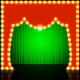 Empty retro stage with green curtain Stock Photo