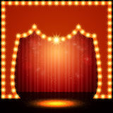 Empty retro stage with red curtain Royalty Free Stock Photos