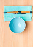 Empty rice bowl with bamboo chopsticks Stock Images
