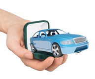 Empty ring box with car in humans hand Stock Image