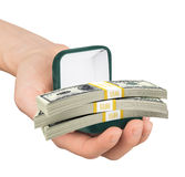 Empty ring box with cash in humans hand Stock Image