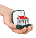 Empty ring box with house in humans hand Stock Photo