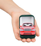 Empty ring box with red car in humans hand Royalty Free Stock Photos