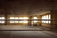 Empty ring boxing arena for training. In the gym Royalty Free Stock Images