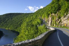 Empty road. Road along a river, upstate NY stock images