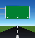 Empty road with blank road-sign. Empty road through fields with blank road-sign Royalty Free Stock Image