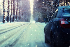 Empty road car in alley winter. Car on empty road alley in winter Royalty Free Stock Photo