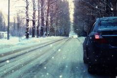 Empty road car in alley winter. Car on empty road on a tree alley in winter Royalty Free Stock Photo