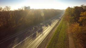 Empty road for cars aerial view from top around green nature.  royalty free stock photos