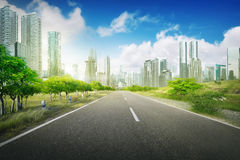 Empty road in the city Stock Photos