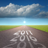 Empty road concept to upcoming 2016 new year Royalty Free Stock Photos