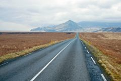 Empty road in the countryside from Iceland Royalty Free Stock Photos