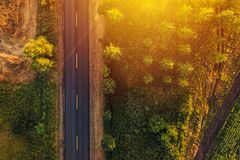 Empty road through countryside in sunset, aerial view drone pov Royalty Free Stock Photography