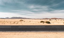 Empty road through the desert stock photo