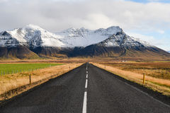 Empty road in early winter of Iceland Royalty Free Stock Photos