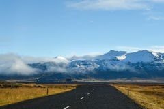 Empty road in early winter of Iceland Royalty Free Stock Images