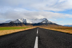 Empty road in early winter of Iceland Royalty Free Stock Photography