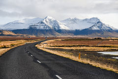 Empty road in early winter of Iceland Stock Image