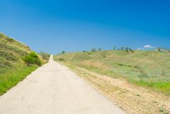Empty road in Eastern Crimea. At spring season royalty free stock images