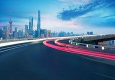 Empty road floor with bird-eye view at Shanghai bund Skyline Stock Images