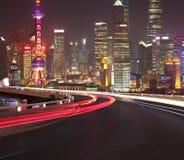 Empty road floor with bird-eye view at Shanghai bund Skyline Stock Photography