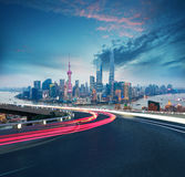 Empty road floor with bird-eye view at Shanghai bund Skyline. Empty road textured floor with Aerial photography bird-eye view at Shanghai bund Skyline of night Stock Photo