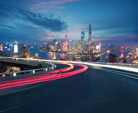 Empty road floor with bird-eye view at Shanghai bund Skyline. Empty road textured floor with Aerial photography bird-eye view at Shanghai bund Skyline of night Royalty Free Stock Photography