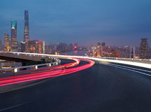 Empty road floor with bird-eye view at Shanghai bund Skyline Royalty Free Stock Images