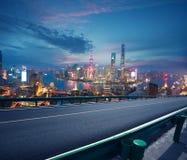 Empty road floor with bird-eye view at Shanghai bund Skyline Royalty Free Stock Photography