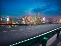 Empty road floor with bird-eye view at Shanghai bund Skyline Royalty Free Stock Image