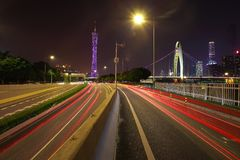 Empty road floor at car light trail of night scene stock images