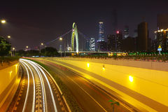 Empty road floor at car light trail of night scene royalty free stock image