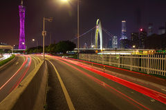 Empty road floor at car light trail of night scene Royalty Free Stock Photos