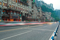 Empty road floor with china ancient architecture Royalty Free Stock Photography