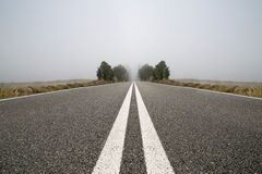 Empty road in a foggy day Stock Photography