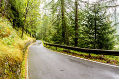 Empty road in Gavia Pass, Italian Alps Royalty Free Stock Images