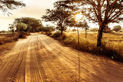 Empty road going through rural landscape under sunset sky Royalty Free Stock Photo
