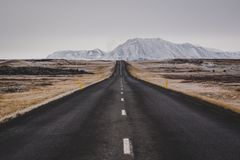 Empty road in iceland in autumn stock photo