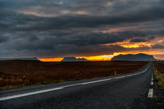 Empty Road in Iceland with Cloudy Morning Sky. Landscape. Morning Narure. Royalty Free Stock Image