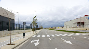 Empty road in industrial area Royalty Free Stock Photo