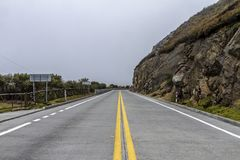 Empty road inside El Cajas royalty free stock photo