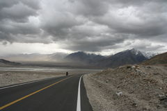 Empty road Karakorum Highway Stock Photo