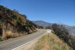 Empty road in Kings Canyon National Park, CA, USA Royalty Free Stock Image