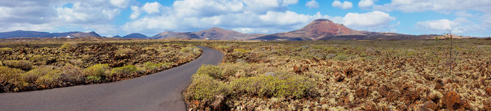 Empty road Lanzarote, Canary islands Royalty Free Stock Images