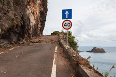 An empty road in Madeira island, Portuga Royalty Free Stock Image